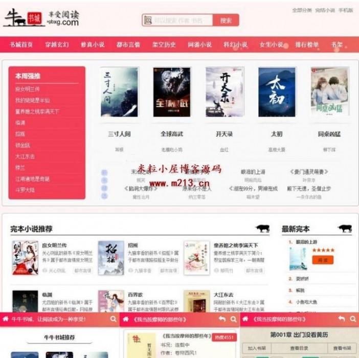 带自动采集的最新粉色烂漫全新UI升级小说自动采集+深度seo优化带移动端整站源码
